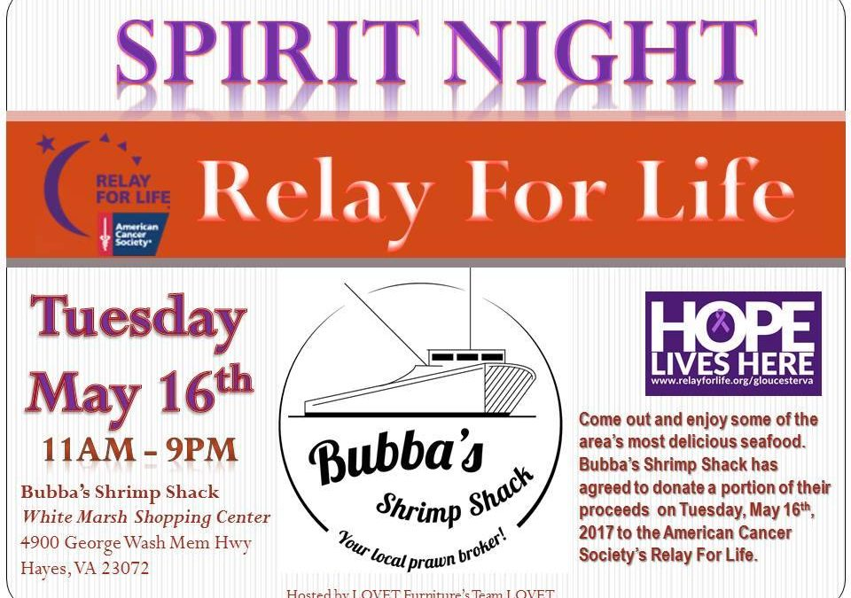 Spirit Night at Bubba's Shrimp Shack